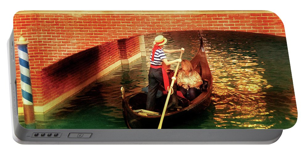 Savad Portable Battery Charger featuring the photograph City - Vegas - Venetian - That's Amore by Mike Savad