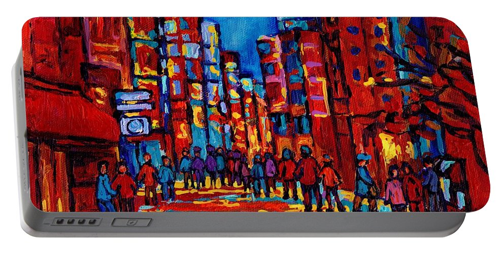 Montreal Portable Battery Charger featuring the painting City After The Rain by Carole Spandau
