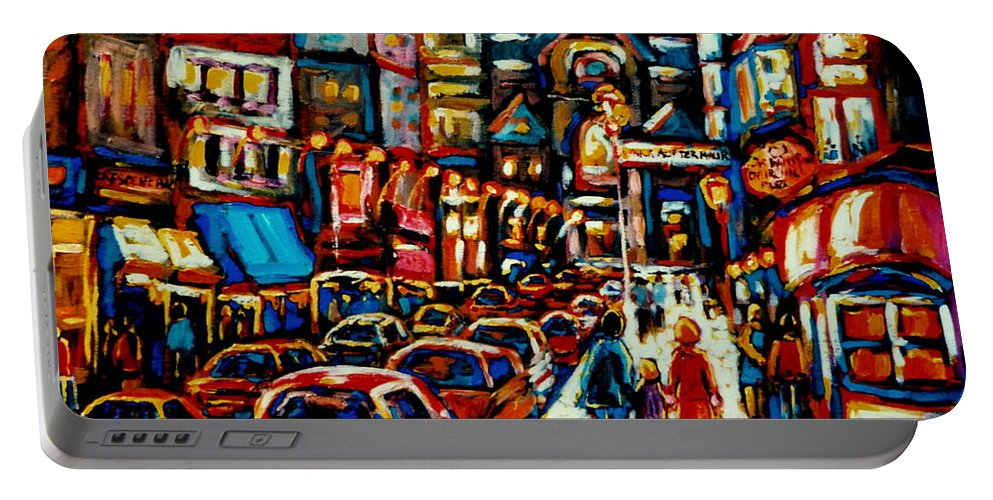 City At Night Downtown Montreal Montreal Portable Battery Charger featuring the painting City At Night Downtown Montreal by Carole Spandau