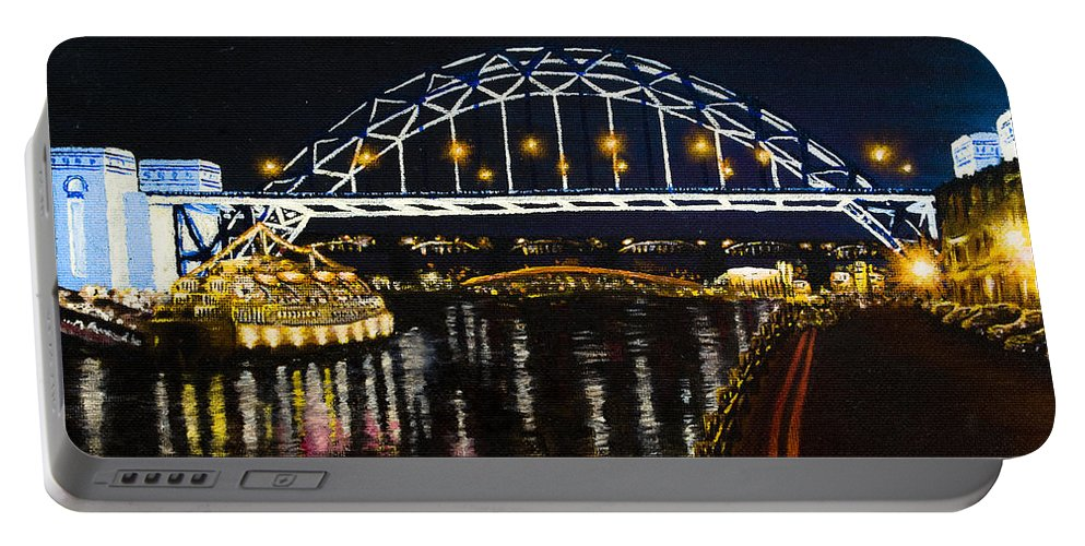 Black Portable Battery Charger featuring the painting City At Night by Svetlana Sewell