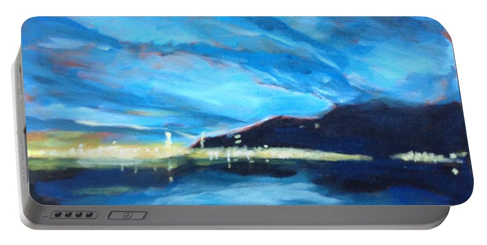 Landscape Portable Battery Charger featuring the painting City By The Sea by Robert Gurgul