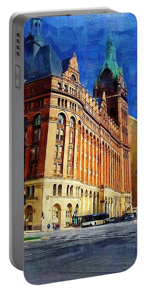 Architecture Portable Battery Charger featuring the digital art City Hall And Lamp Post by Anita Burgermeister