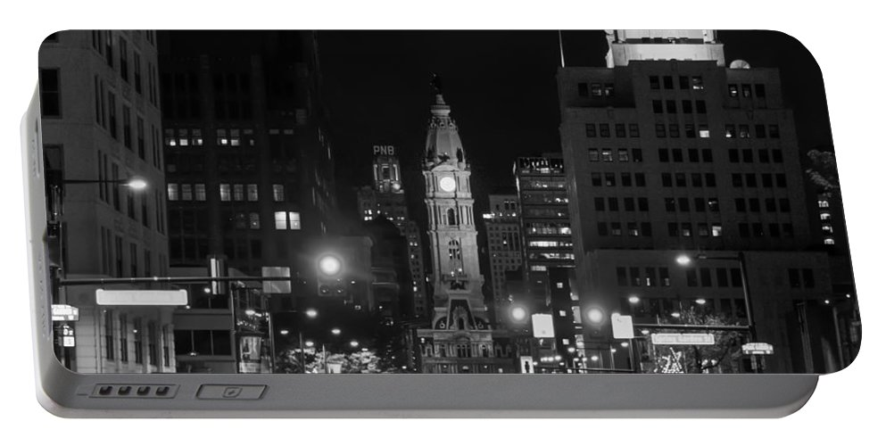 City Portable Battery Charger featuring the photograph City Hall - Black And White At Night by Bill Cannon