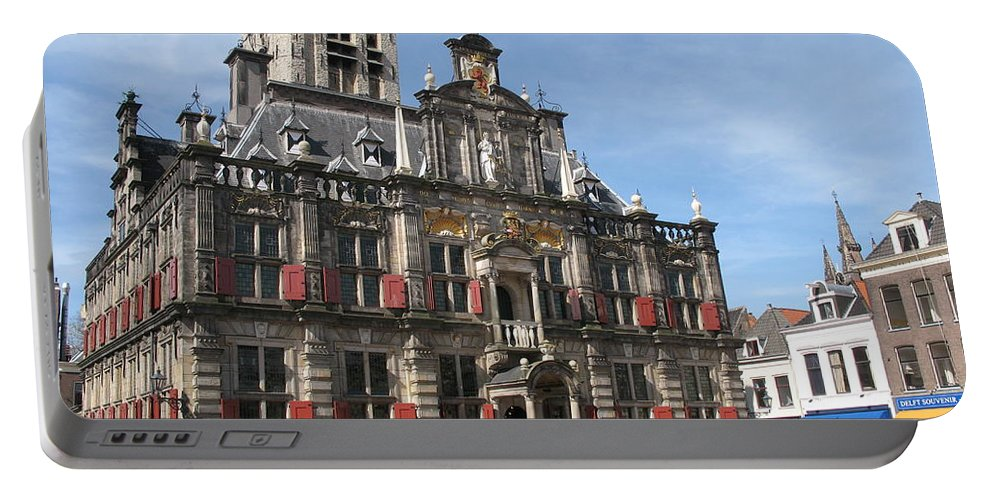 City Hall Portable Battery Charger featuring the photograph City Hall - Delft - Netherlands by Christiane Schulze Art And Photography