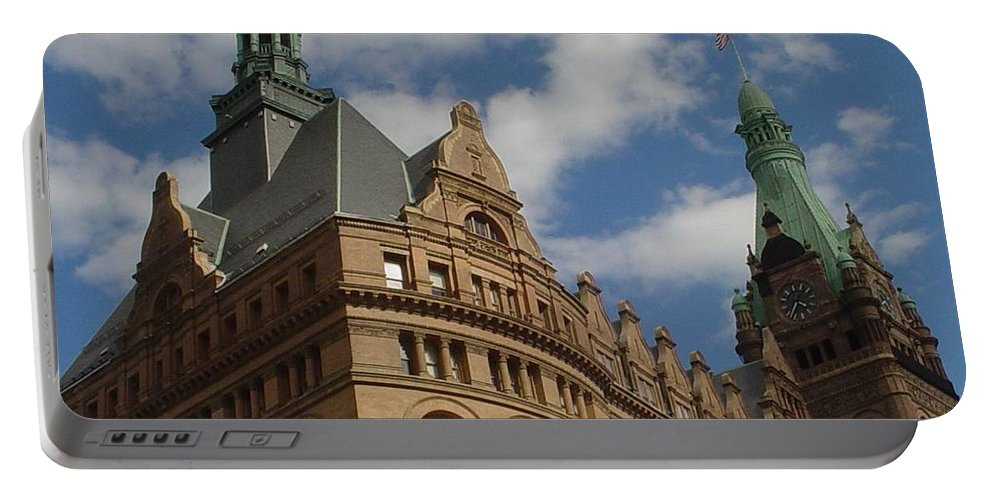 Milwaukee Portable Battery Charger featuring the photograph City Hall Roof And Tower by Anita Burgermeister