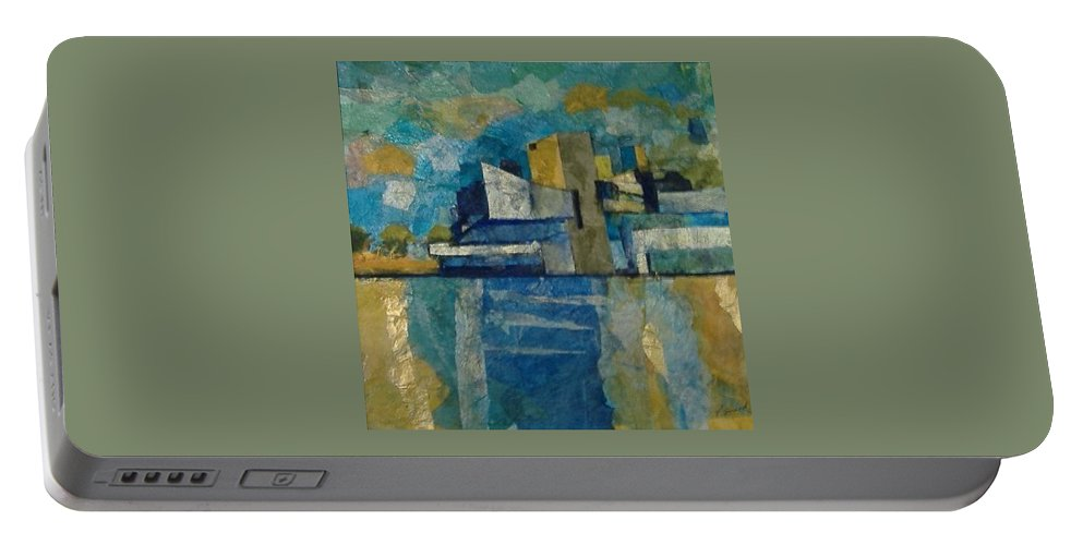 Portable Battery Charger featuring the mixed media City In Harmony by Pat Snook