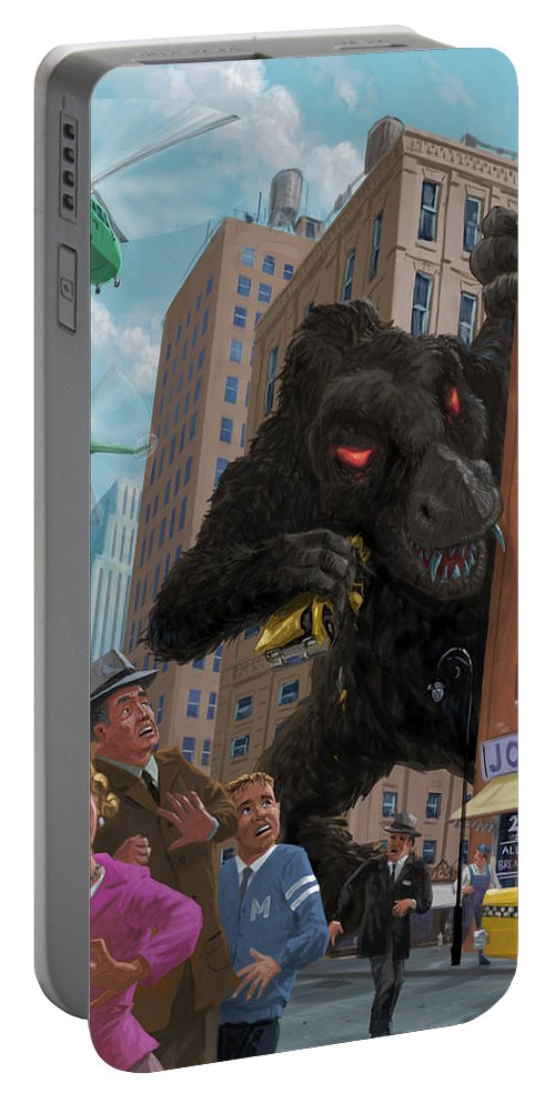City Portable Battery Charger featuring the digital art City Invasion Furry Monster by Martin Davey