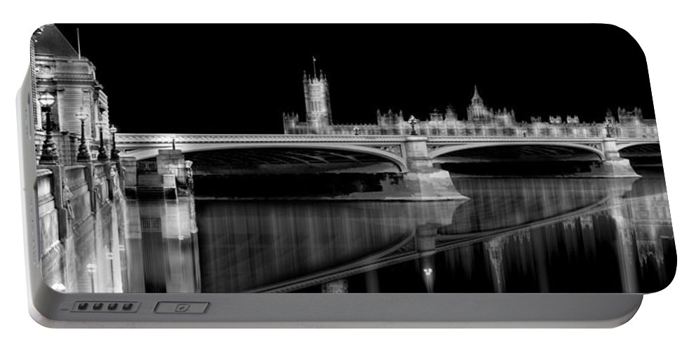London Portable Battery Charger featuring the digital art City Lights London by Joseph Tamassy