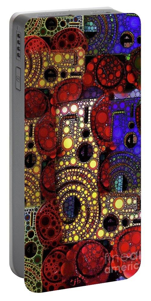 Abstract Portable Battery Charger featuring the digital art City Lights by Ron Bissett