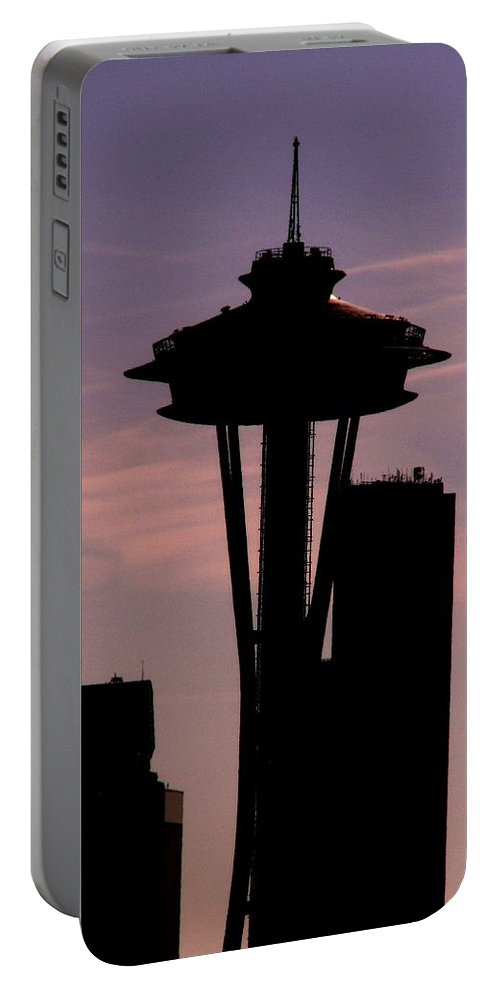 Seattle Portable Battery Charger featuring the digital art City Needle by Tim Allen