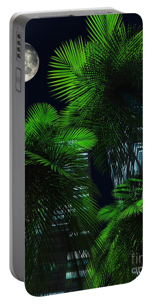 Tropics Portable Battery Charger featuring the digital art City Nights by Richard Rizzo