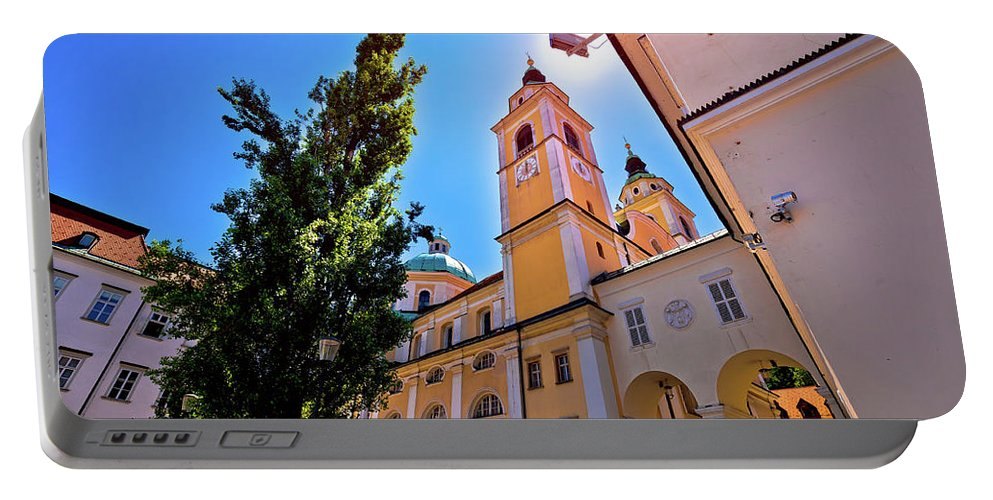 Ljubljana Portable Battery Charger featuring the photograph City Of Ljubljana Church And Square View by Brch Photography