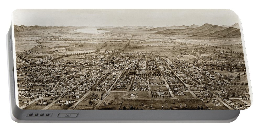 City Of San Jose 1875 Portable Battery Charger featuring the photograph City Of San Jose County Of Santa Clara 1875 by California Views Archives Mr Pat Hathaway Archives