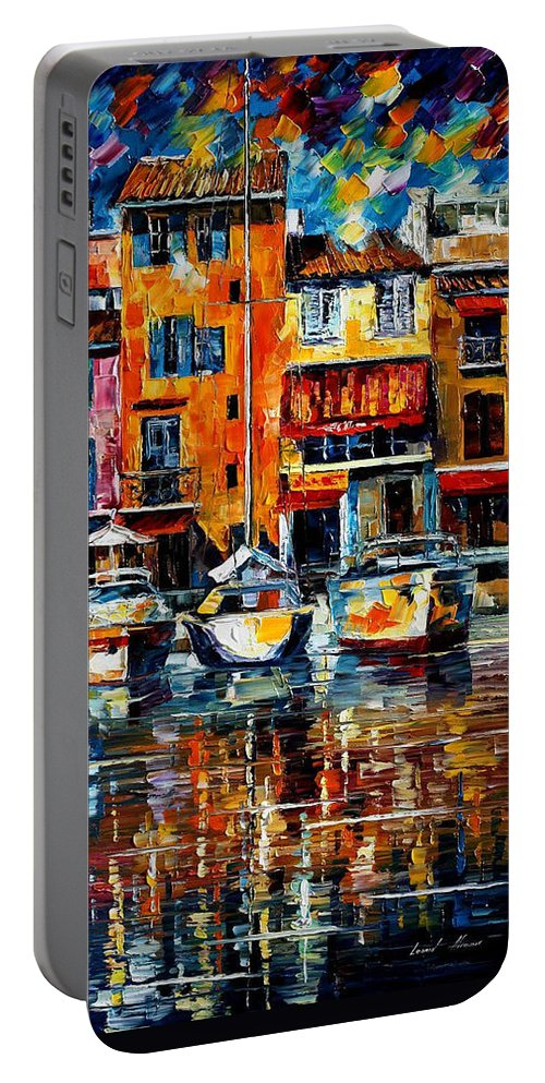 Art Gallery Portable Battery Charger featuring the painting City Pier - Palette Knife Oil Painting On Canvas By Leonid Afremov by Leonid Afremov