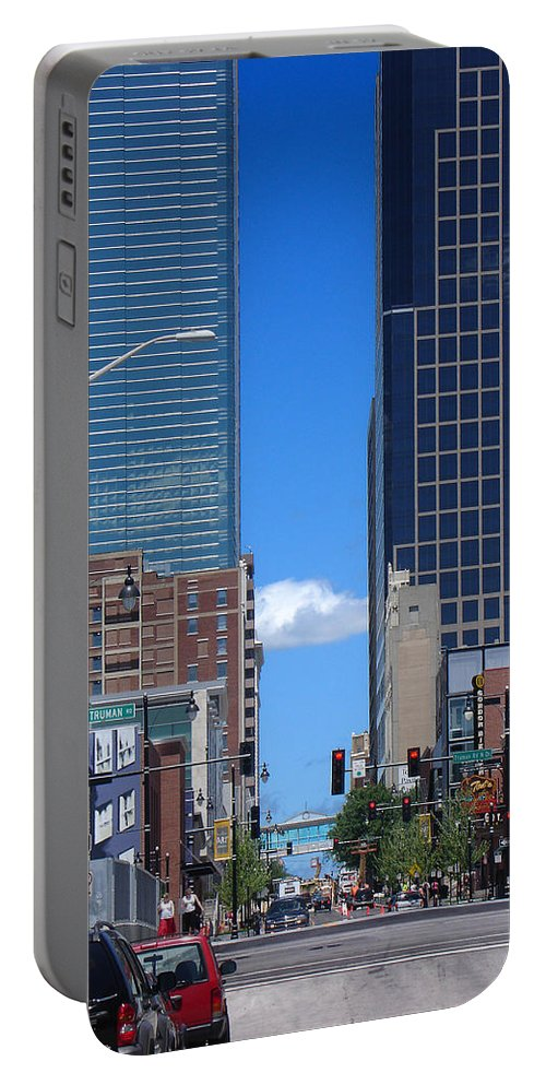 Kansas City Portable Battery Charger featuring the photograph City Street Canyon by Steve Karol