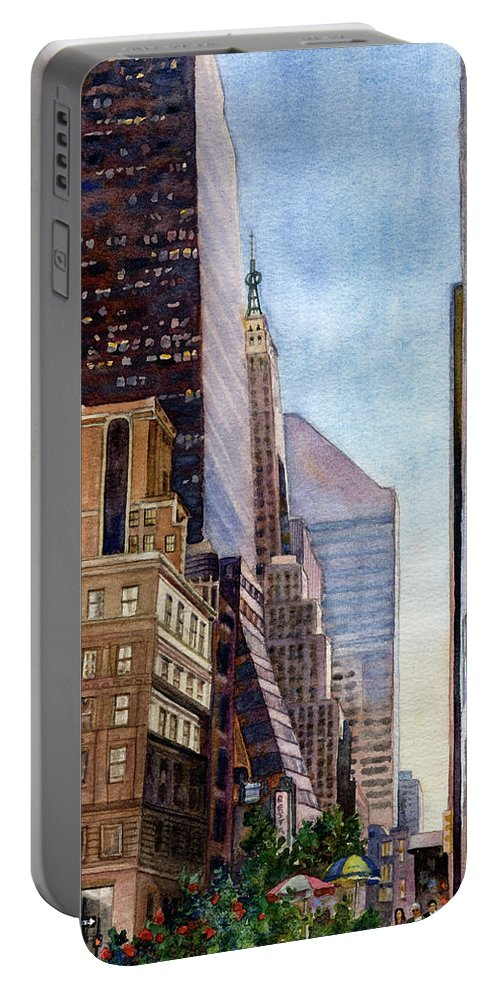New York City Painting Portable Battery Charger featuring the painting City Sunrise by Anne Gifford