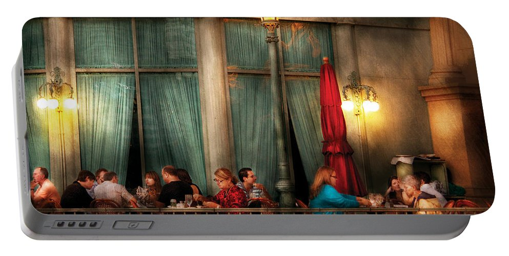 Savad Portable Battery Charger featuring the photograph City - Vegas - Paris - The Outdoor Cafe by Mike Savad