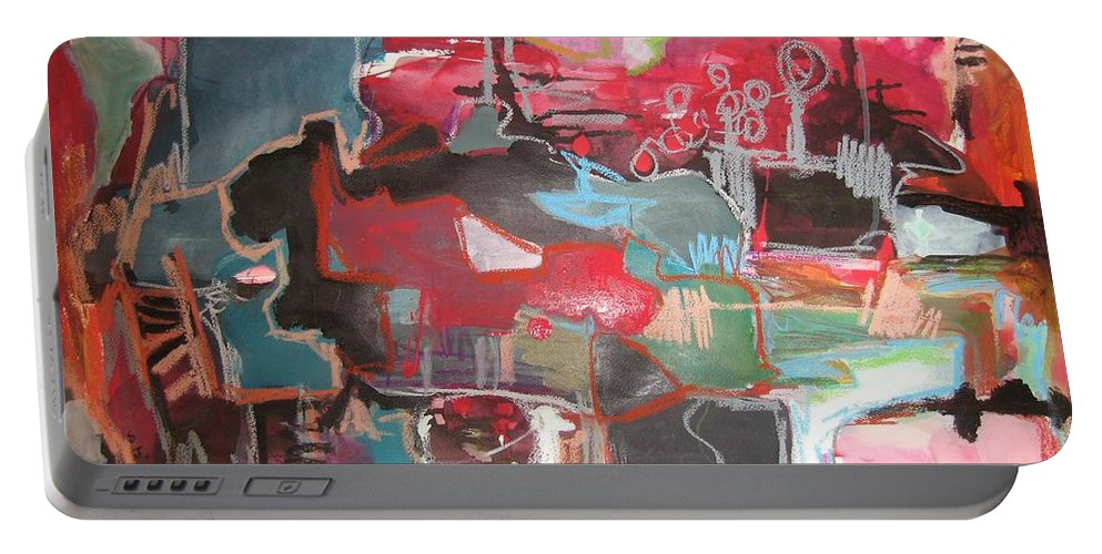 Abstract Paintings Portable Battery Charger featuring the painting Citysacpe At Twilight Original Abstract Colorful Landscape Painting For Sale Red Blue by Seon-Jeong Kim