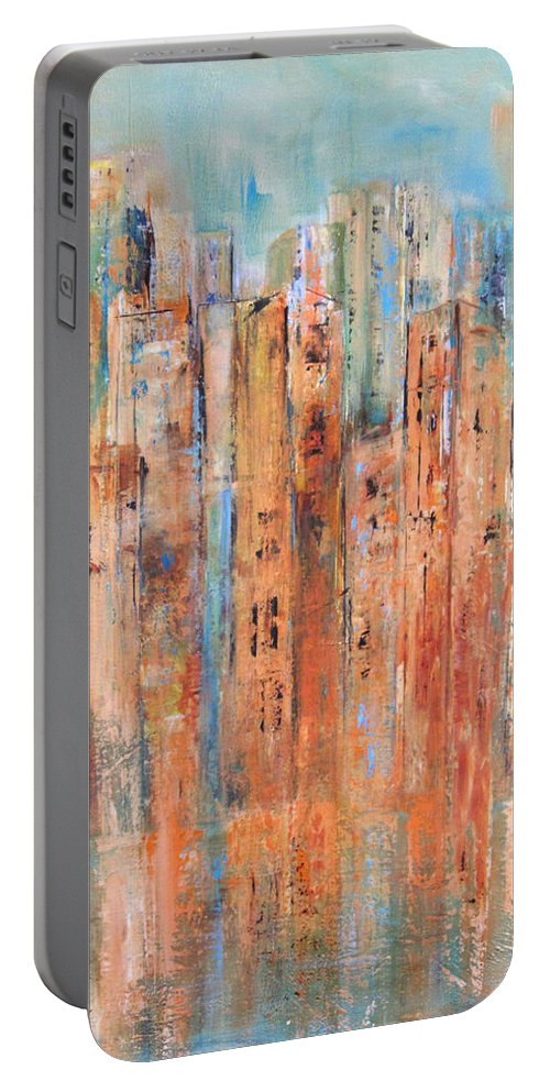 Cityscape Portable Battery Charger featuring the painting Cityscape #3 by Roberta Rotunda