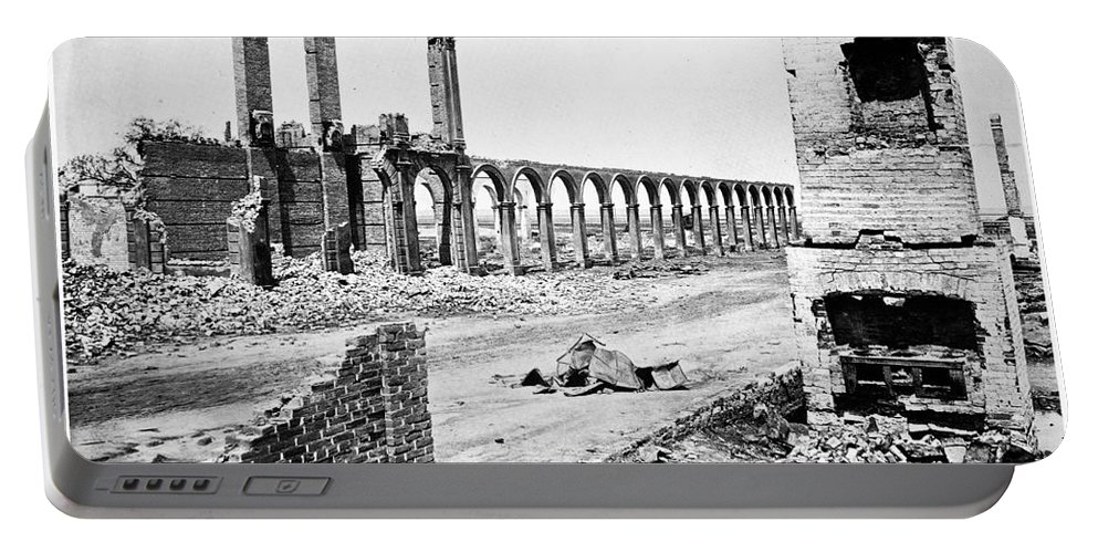 1865 Portable Battery Charger featuring the photograph Civil War: Charleston Ruins by Granger