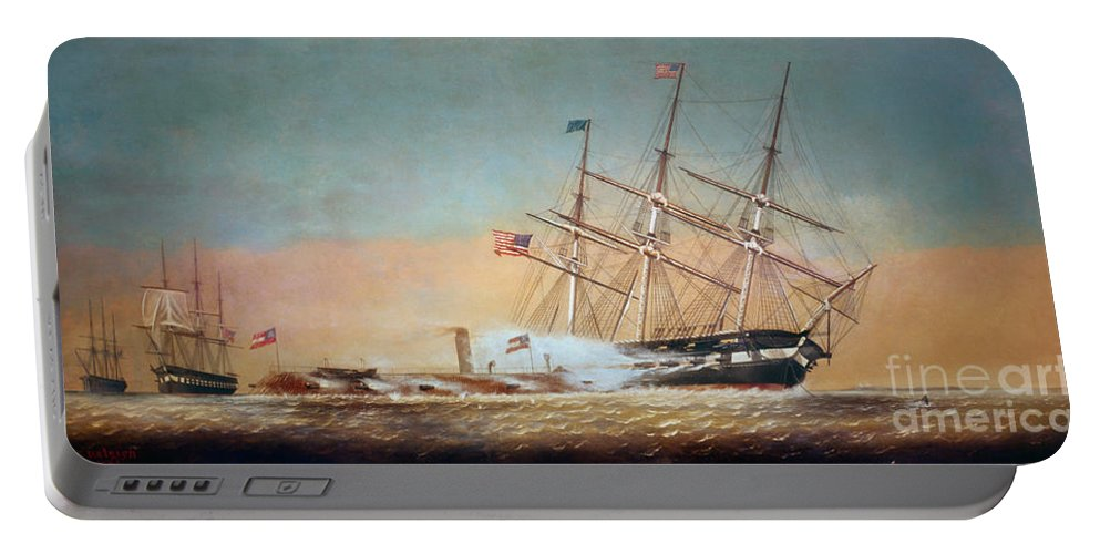 1862 Portable Battery Charger featuring the painting Civil War Merrimack 1862 by Granger