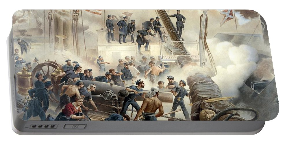 Civil War Portable Battery Charger featuring the painting Civil War Naval Battle by War Is Hell Store