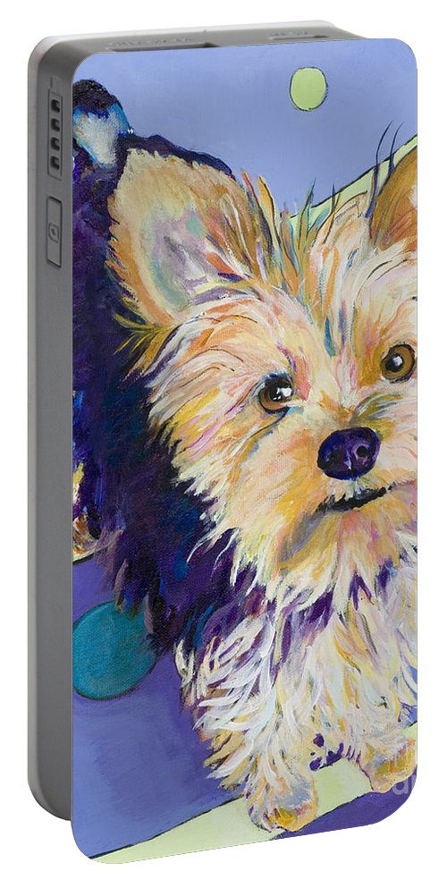 Pet Portraits Portable Battery Charger featuring the painting Claire by Pat Saunders-White