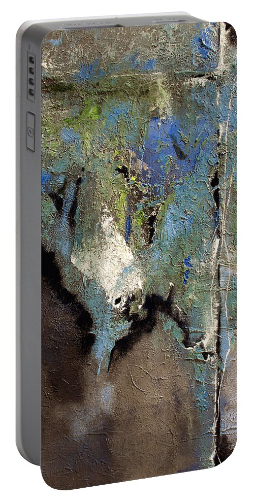 Abstract Portable Battery Charger featuring the painting Clandestine by Ruth Palmer