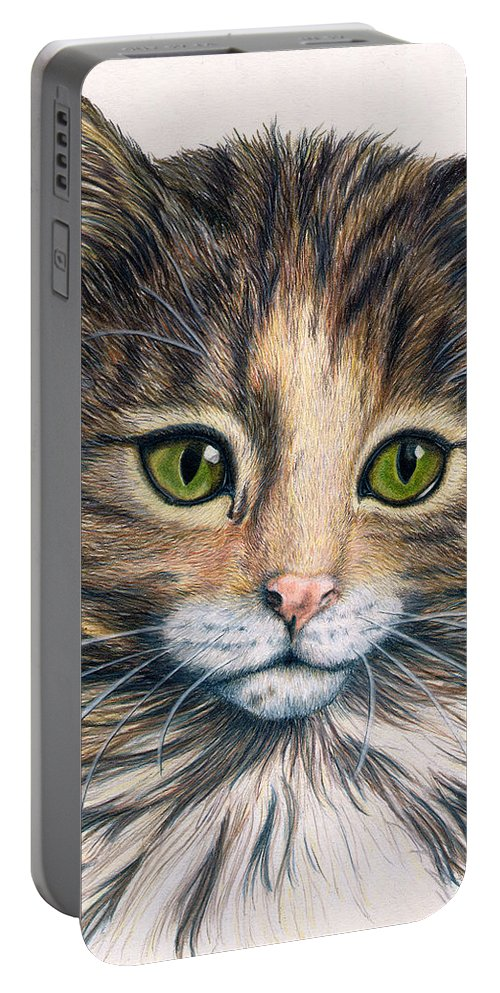 Cat Portable Battery Charger featuring the drawing Clarice by Kristen Wesch