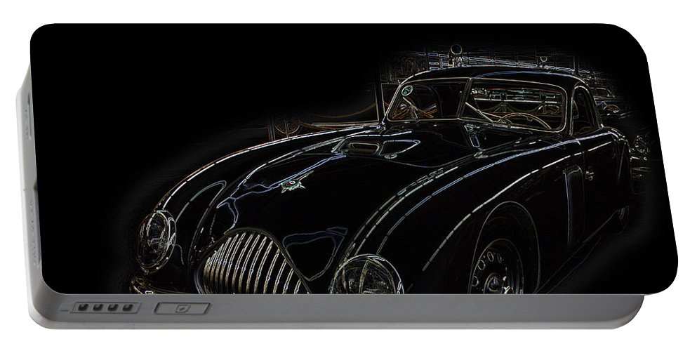 Classic Car Antique Show Room Vehicle Glowing Edge Black Light Chevy Dodge Ford Ride Portable Battery Charger featuring the photograph Classic 2 by Andrea Lawrence
