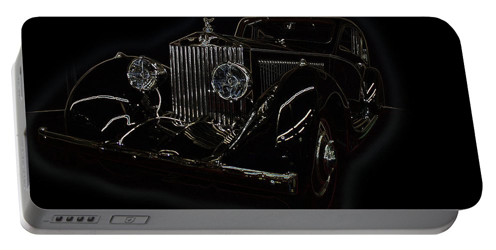 Classic Car Antique Show Room Vehicle Glowing Edge Black Light Chevy Dodge Ford Ride Portable Battery Charger featuring the photograph Classic 3 by Andrea Lawrence