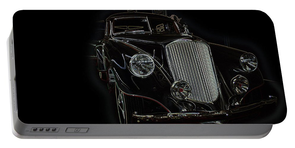 Classic Car Antique Show Room Vehicle Glowing Edge Black Light Chevy Dodge Ford Ride Portable Battery Charger featuring the photograph Classic 4 by Andrea Lawrence