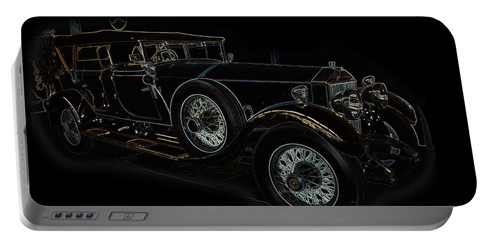 Classic Car Antique Show Room Vehicle Glowing Edge Black Light Chevy Dodge Ford Ride Portable Battery Charger featuring the photograph Classic 5 by Andrea Lawrence