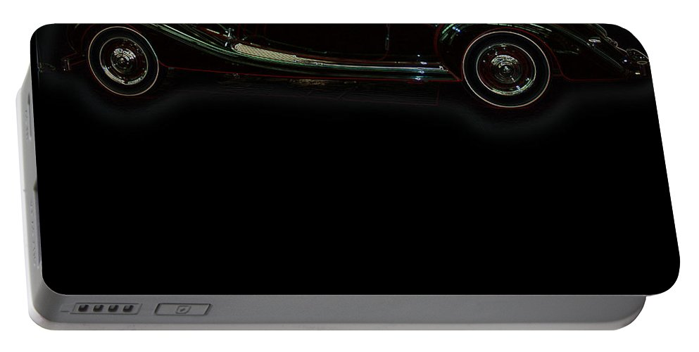 Classic Car Antique Show Room Vehicle Glowing Edge Black Light Chevy Dodge Ford Ride Portable Battery Charger featuring the photograph Classic 6 by Andrea Lawrence