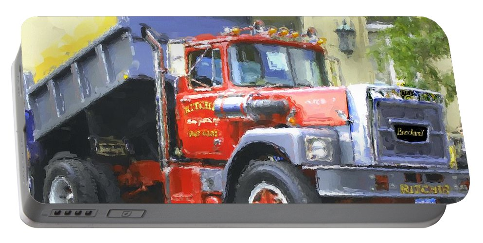 Brockway Portable Battery Charger featuring the photograph Classic Brockway Dump Truck by David Lane