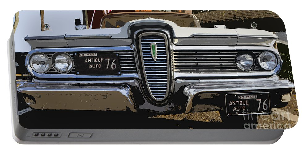 Edsel Portable Battery Charger featuring the painting Classic Edsel by David Lee Thompson