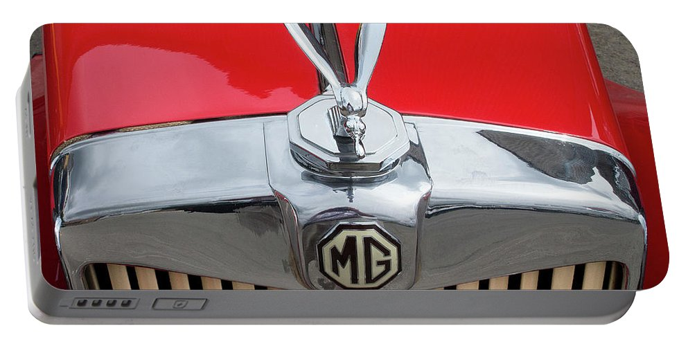 Classic Portable Battery Charger featuring the photograph 1936 Mg Ta Radiator And Mascot by Peter Lloyd