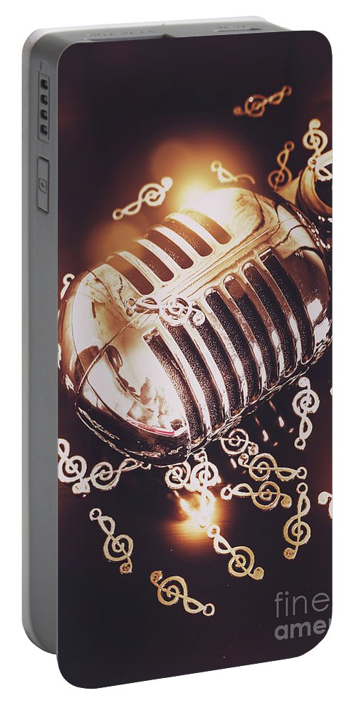 Microphone Portable Battery Charger featuring the photograph Classics At The Audio Hall by Jorgo Photography - Wall Art Gallery