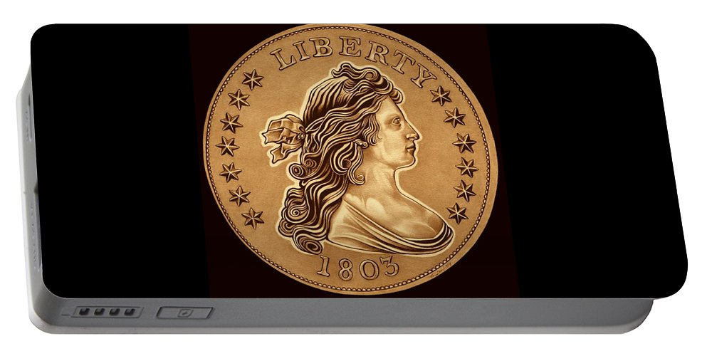 Draped Bust Liberty Dollar Portable Battery Charger featuring the drawing Clay Brown Draped Liberty by Fred Larucci