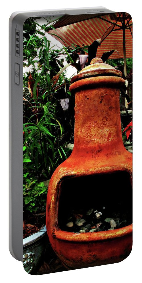 Botanical Portable Battery Charger featuring the digital art Clay Furnace by Joan Minchak
