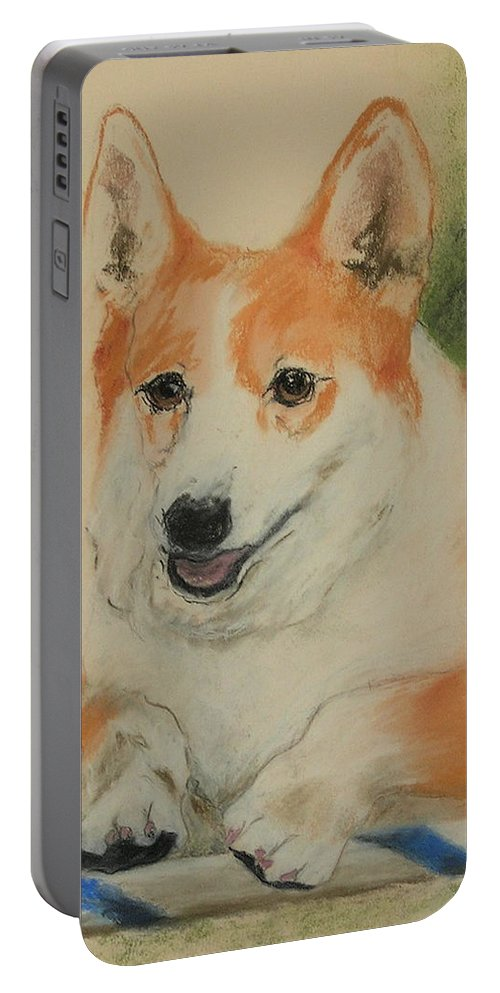 Pastel Portable Battery Charger featuring the drawing Clear Run by Cori Solomon