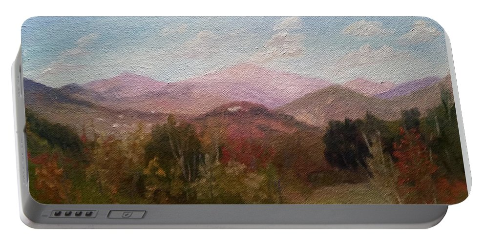 Mt. Washington Portable Battery Charger featuring the painting Clear September Afternoon by Sharon E Allen