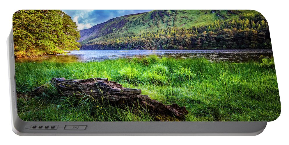 Clouds Portable Battery Charger featuring the photograph Clear Waters Of Glendalough by Debra and Dave Vanderlaan