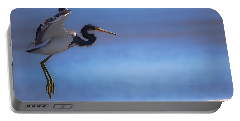 Bird Portable Battery Charger featuring the digital art Cleared For Landing by DigiArt Diaries by Vicky B Fuller