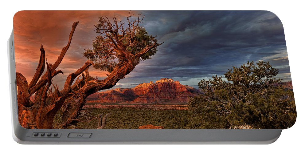 North America Portable Battery Charger featuring the photograph Clearing Storm Over Back Of Zion Near Hurricane Utah by Dave Welling