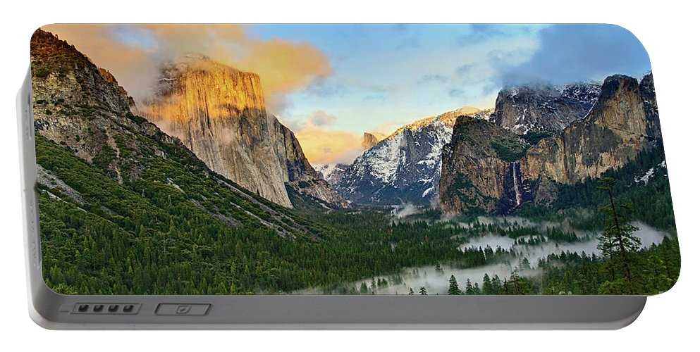 Yosemite Portable Battery Charger featuring the photograph Clearing Storm - View Of Yosemite National Park From Tunnel View. by Jamie Pham
