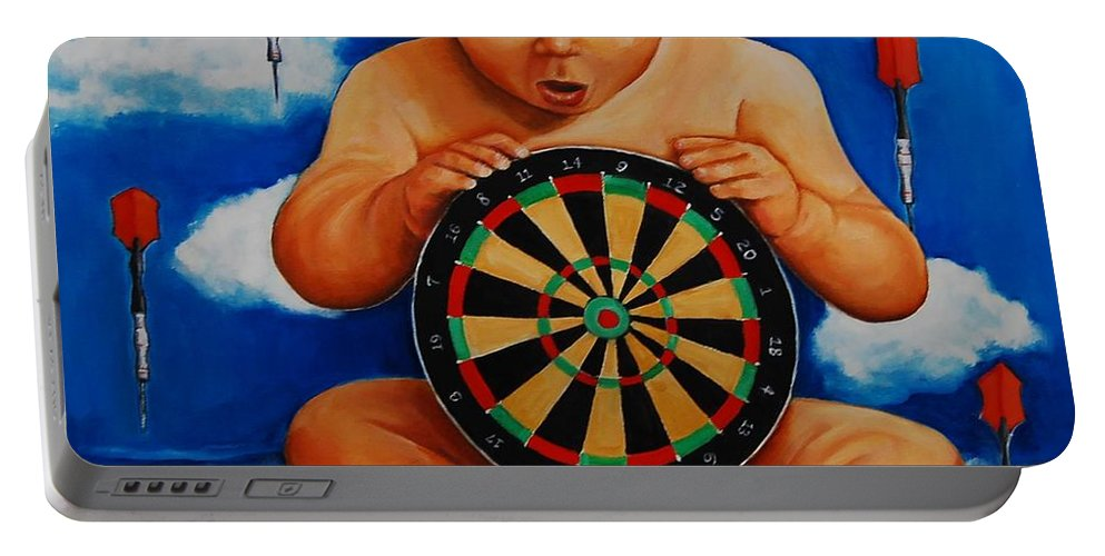 Baby Portable Battery Charger featuring the painting Clearly It Is A Dangerous World by Jean Cormier