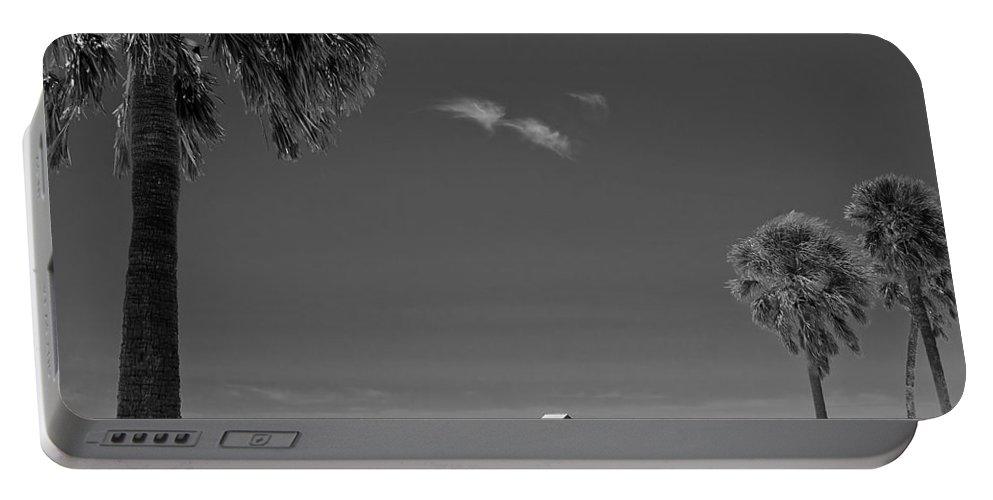 3scape Portable Battery Charger featuring the photograph Clearwater Beach Bw by Adam Romanowicz