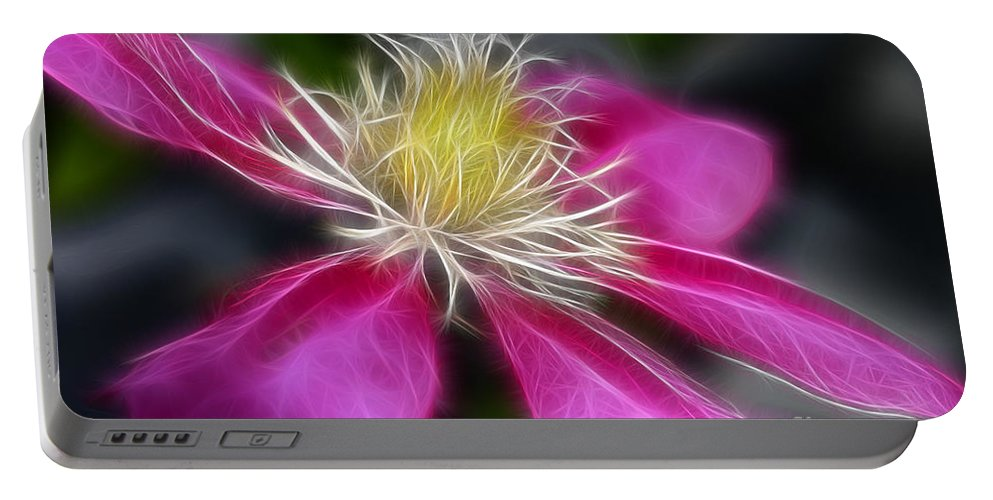 Flower Portable Battery Charger featuring the photograph Clematis In Pink by Deborah Benoit
