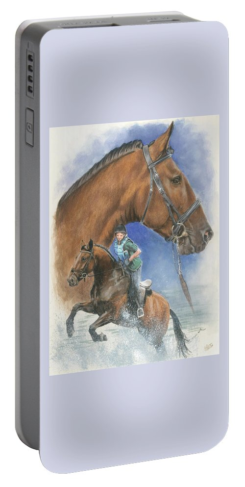 Hunter Jumper Portable Battery Charger featuring the mixed media Cleveland Bay by Barbara Keith